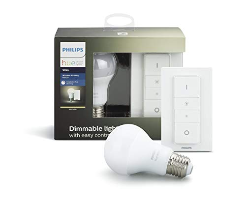 Philips Hue White Wireless Dimming Kit, E27 LED Lampe inkl. Dimmschalter, dimmbar, warmweißes Licht, steuerbar via App, kompatibel mit Amazon Alexa (Echo, Echo Dot) (Fernbedienung Lampe)