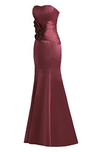 Sunvary Mermaid Sweetheart fiori in raso per abiti da sera Gowns sera Burgundy