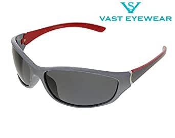 Vast UV Protection Unisex Sport Sunglasses (PREMIUM C5_RED_GREY)