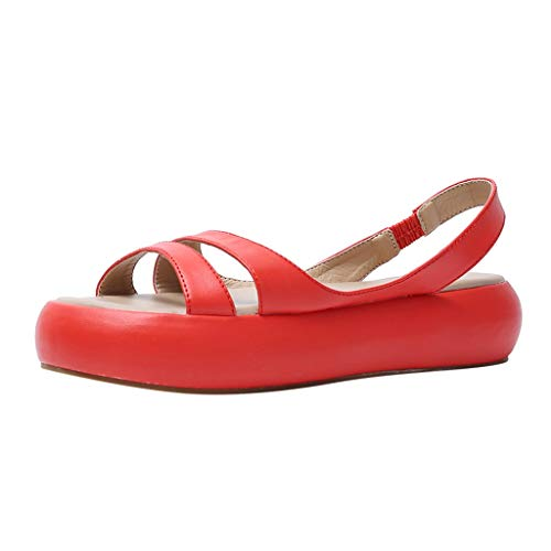 Committede Flache Sandalen Damen Sommer Casual Schuhe offene Zehenband Flache Kork-Sandalen Bequeme Flache Sandalen mit elastischem Knöchelriemen Strand Wanderschuhe