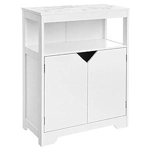VASAGLE Badezimmerschrank, Badschrank, mit marmorartigem Druckmuster, mit offenem Fach, Verstellbarer Regalebene und Schranktüren, 60 x 30 x 80 cm, weiß BBC68WT