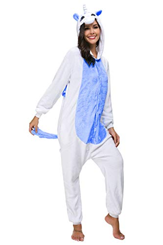 Mescara pigiama unisex cosplay costume halloween intero animale sleepwear carnevale tuta attrezzatura festa party sleepwear (m, blu scuro)