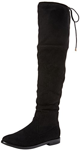 Boohoo Over Knee Suede Look Flat Boot With Tie Detail, Cuissardes doublées femme Noir