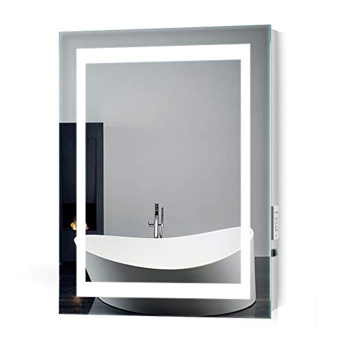 Quavikey LED Beleuchtung Badezimmerspiegel Rechteckig Licht Wandspiegel Badspiegel mit Steckdose und IR Sensorschalter & Demister Pad für Bad Make up 500 x 700 mm -