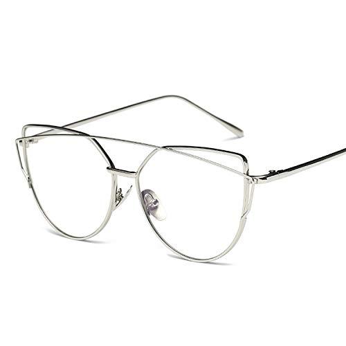 Easy Go Shopping Frauen Metallrahmen Brillen Brillengestell ohne Rezept (Farbe : Silber)