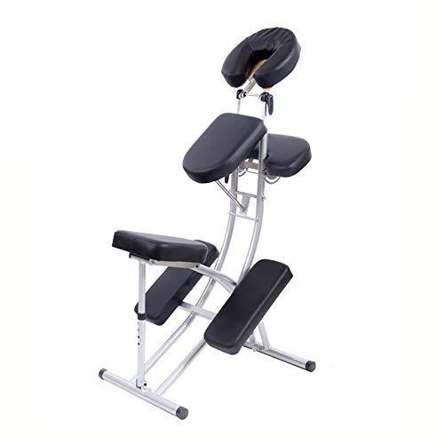 (YGB Massagestuhl Tragbar,Klappbar Mobil Vielseitig Verstellbarer Therapiestuhl Tätowierungs Stuhl Faltender Tragbarer Schaber-Stuhl mit Kostenlose Tragetasche(Black))