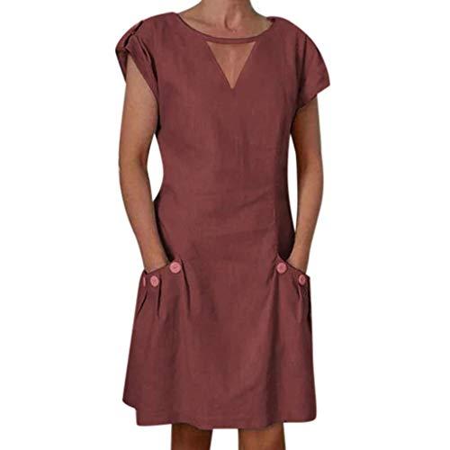 Go First Frauen Sommer Kleid Damen Plus Size Kleid T-Shirt Baumwolle und Leinen Kleid Casual Short Sleeve Midi Kleid (Color : Wine Red, Size : XXXXX-Large)