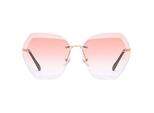 JUNHONGZHANG Transparente Sonnenbrille Sonnenbrille Ocean Blatt Polygonalen Metallische Gläser Rahmenlose Rosa Sonnenbrille, Gold Frame Pulver