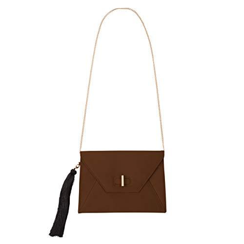Pavilion Gift Company H2Z Handbags Clutch, Übergröße, mit goldfarbener Kette, Braun