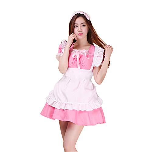 French Kostüm Rosa Maid - fagginakss Damen-Kostüm, französisches Dienstmädchen mit PVC-Mieder für Halloween Kollektion French Maid Kostüm mit Kleid Haarreifen