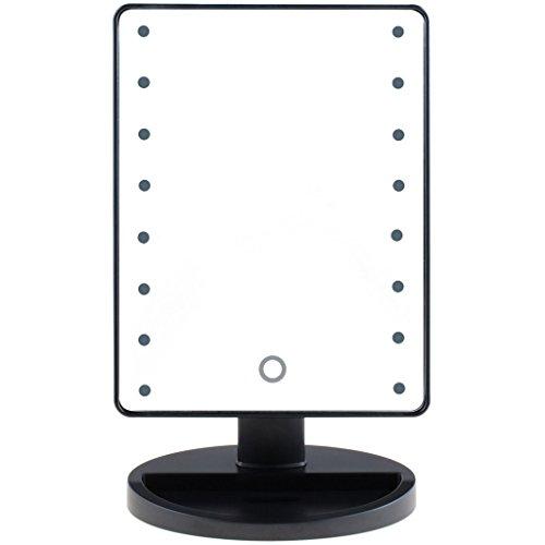 Preisvergleich Produktbild WSXXN LED beleuchtete Kosmetikspiegel - 16 Glühbirnen Tischplatte Kosmetikspiegel mit 4 x Batterien - beleuchtete Make-up Spiegel Kosmetikspiegel für Tischplatte (schwarz)