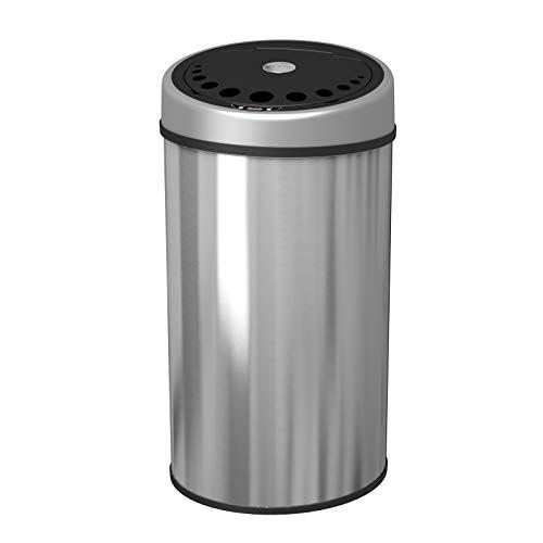1home - Cubo de Basura Redondo de Acero Inoxidable de 50 litros con Sensor automático y sin Contacto...