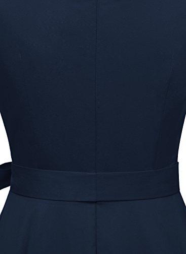 Timormode Sommerkleider 50er Retro Damen Rockabilly Kurz Vintage Kleid Ärmellos Swing Kleid Ballkleid Marineblau