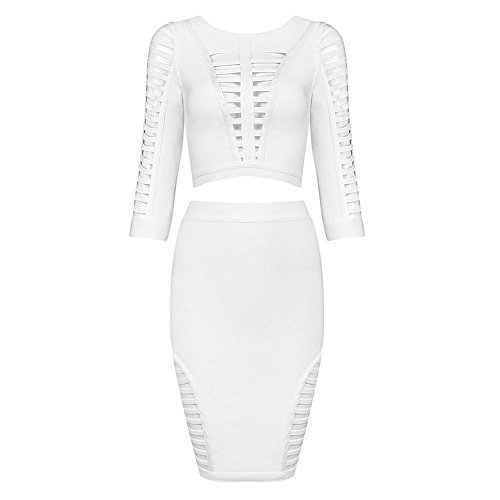 HLBandage 2 Piece Half Sleeve Hollow Out Women Rayon Bandage Dress Blanc