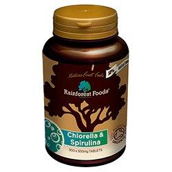 (Pack of 6) Rainforest Foods - Organic Chlorella & Spirulina 300 Tablet by RAINFOREST FOODS
