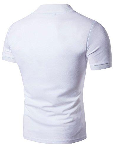 Boom Fashion Mode Herren Poloshirt Beiläufig Kurzarm Stehkragen M - XXL Weiß