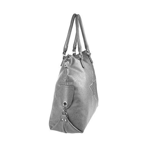 OBC ital-design DAMEN STERN TASCHE Shopper Handtasche Schultertasche Beutel Henkel CrossOver Schwarz-Gold Camel