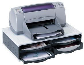 Support d'unité centrale, fax, imprimante... multi-rangements, avec 4 tiroirs - Lot de 4