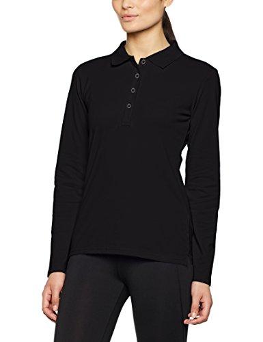 JAMES & NICHOLSON Elastic Long-Sleeved, Polo Femme Schwarz (Black)