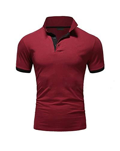 Ehpow Herren Poloshirt Basic Kurzarm Polohemd T-Shirt (X-Large, Rot) - Casual Kurzarm-polo