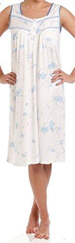 DAMEN LADY OLGA Trikot baumwollreich Blumenmuster ärmellos Nachtwäsche 0103 Nachthemd Blau
