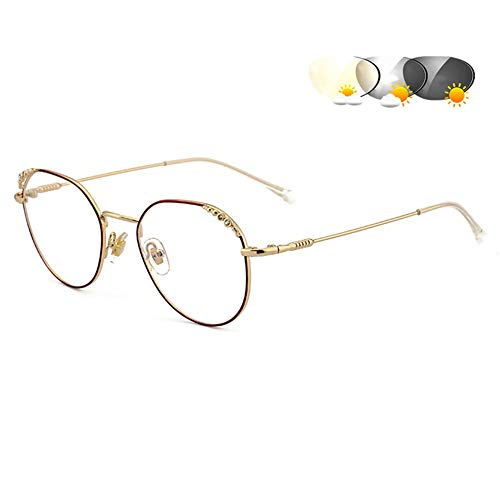 Eyetary Leichte bifokale Lesebrille Sonnenbrille - Übergang photochrome Leserinnen Frauen, Anti Glare Objektiv/Vergrößerung 1,00 bis 4,00 Stärke,GoldFrame&Burgundy,+4.0