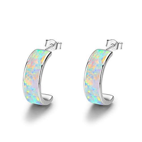 925 Sterling Silber Creolen Ohrringe für Damen Creolen Ohrringe Opal Ohrringe C Creolen Kreis Ohrringe Muttertag Geschenke (Silber)