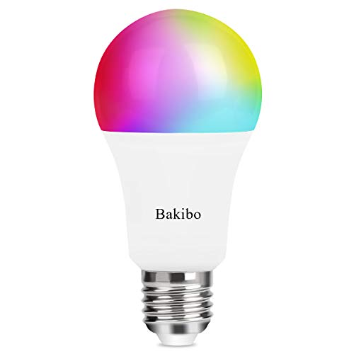 bakibo Smart WiFi LED Lampen Glühbirne Dimmbar 9W 1000Lm, E27 Intelligente Multicolor Birne Kompatibel mit Alexa Echo, Google Home und IFTTT, A19 90W Gleichwertige RGB Farbwechselbirne, 1 Pcs Intelligente Led