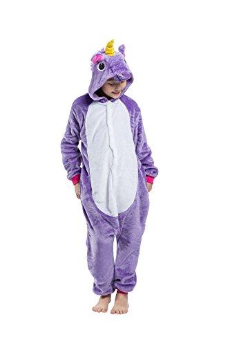 DarkCom Kinder Flanell Kigurumi Onesies Einhorn Cosplay Jumpsuit Cute Outfit Nachtwäsche Lila