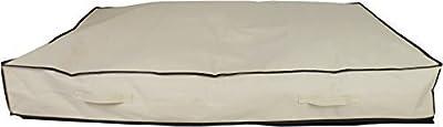 Neusu 180 Litre Heavy Duty Underbed Storage Bag - Large Jumbo XXL Size (125cm x 80cm x 18cm) 180L Capacity - Strong 600D Polyester Material, 4x Web Reinforced Handles - Fits Multiple Duvets - Beige