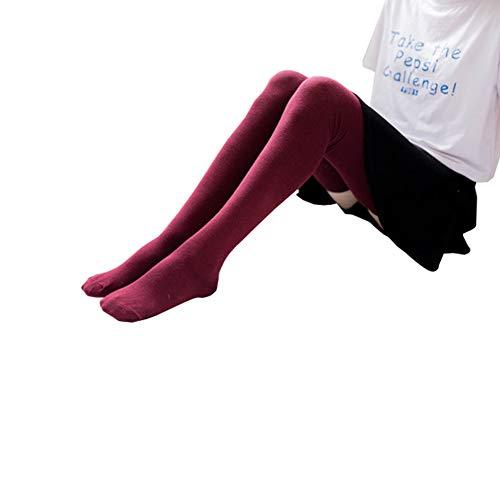 Bakicey Damen Kniestrümpfe Socken Overknee Strümpfe, Mädchen 80cm Strumpfhosen Baumwollstrümpfe Stützkniestrümpfe Gestrickte Strick Socken Hoch Über das Knie Lange Socken Winter Strümpfe (Rot)