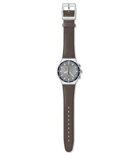 Swatch YCS541 – Reloj de caballero de cuarzo, correa de piel color marrón
