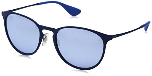 RAYBAN JUNIOR Unisex-Erwachsene Sonnenbrille Erika Metal, Rubber Electric Blue/Bluelightflashgrey, 54