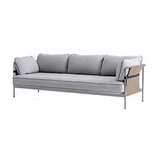 HAY Can 3-Sitzer Sofa Gestell Dusty Grey, hellgrau Stoff Surface 120 247x82x89.5cm Außenstoff Canvas Army