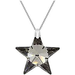 Crystals & Stones * TOP * * * 28mm * Silver Night * avec chaîne argent étoile en argent 925avec pendentif Swarovski® Elements original, collier avec étui à bijoux