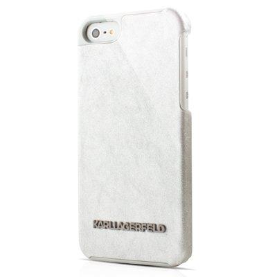 Karl Lagerfeld KLHCP5GLW Vinyl-Sammlung Hard Case mit Logo für Apple iPhone 5/5S weiß/Silber