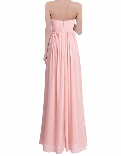 FEESHOW Damen Kleider elegant Chiffon Brautjungfer Kleid festlich Hochzeit Kommunion kleid lang Partykleid Cocktailkleid Gr.34-46 Rosa