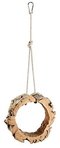 Kork-Schaukel für Vögel und Nager. Rund, aus Naturkork zum Schaukeln, Spielen, Anknabbern und Knuspern, Reine Kork-Rinde. Karabinerhaken aus hochwertigen Edelstahl. Vogel Zubehör und Spielzeug -