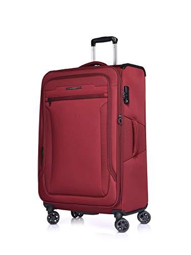 Verage Weichgepäck Stoff-Koffer Toledo 80cm (L-28-80x48x30) 115 Liter 4 Räder Rot TSA-Schloss, Weichschale-Reisekoffer Trolley erweiterbar - Erweiterbar Auf Vier Rädern