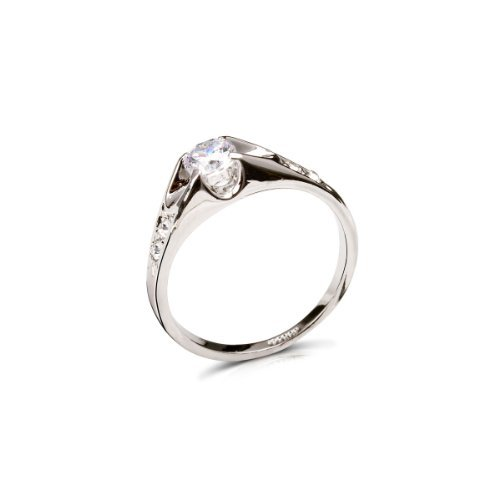 Princess Herren-ring White Gold Cut (FAIRY COUPLE weiß Gold Ton Zirkonia verlobungsring mit Zirkonia Schultern R69 57 (18.1))