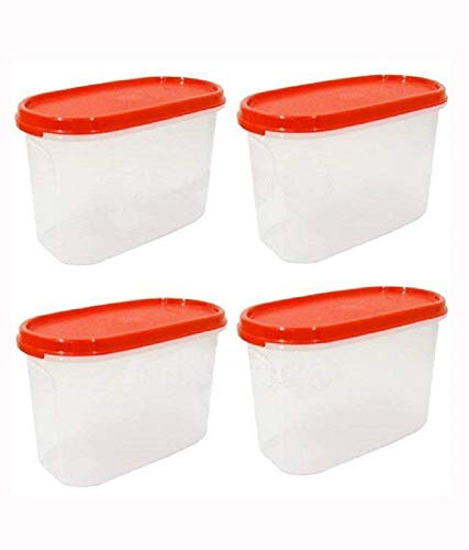 Tupperware Modular Mates Oval Plastic Container Set, 1.7 Litres, 4-Pieces, Asssorted