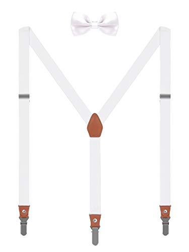 4-knopf-weißes Kleid Anzug (WANYING Unisex Hosenträger Fliege Set für Herren Damen 3 Starken Langen Clips Y-Form Elastische Hosenträger für Körpergröße 150-200cm - Weiß)