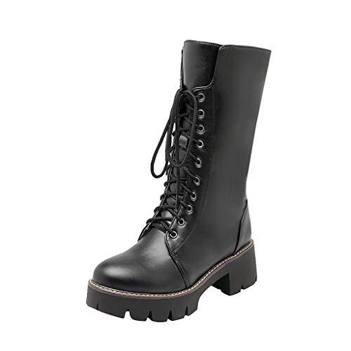 Botas Militares Unisex Adulto, Mujer Invierno Moda Zapatos Altos Talones Cordones Botas Martin Botas
