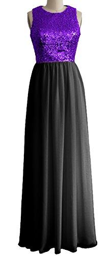 MACloth - Robe - Trapèze - Sans Manche - Femme Noir/violet