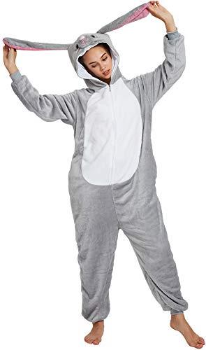 Kitty's Vogue Apparel Chichidog Halloween-Pyjama Homewear Einteiler Cosplay Kostüm Loungewear Gr. (Passende Höhe: 147 cm/ 157 cm) Small, Pink Ear Rabbit (Pink Kitty Kostüm)