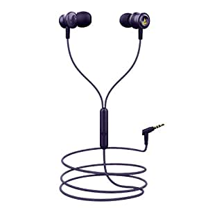 boAt BassHeads 152 KKR Edition Wired Earphones with Super Extra Bass, Durable Cable, Built-in Mic, Metallic Earbuds(Thunder Purple)