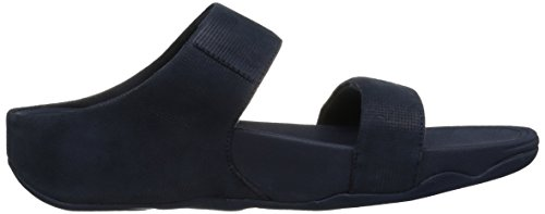 Fitflop Lulu Slide Sandals-Shimmer-Check, Sandali Punta Aperta Donna Blue (Midnight Navy)