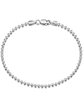 Amberta 925 Sterlingsilber Armkette - Kugelkette Armband - 2 mm Breite - Verschiedene Längen: 18 19 cm