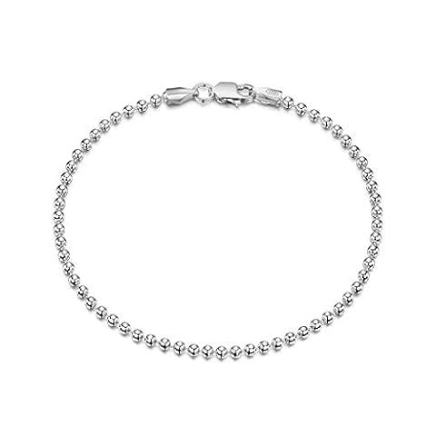 Amberta® Designer 925 Sterling Silver - Fine Herringbone Chain Bracelet - Width 5 mm - Various Sizes - Length: 7.5 Inch / 190 mm - Bracelet
