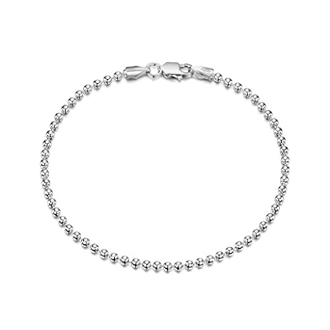 925 Sterling Silver 2 mm Ball Chain Bracelet Size: 7 7.5 inch / 18 19 cm (7.5inch/19cm)